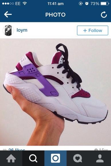 trainers huraches hurachi trainers nike pink white purple nike air nike fashion