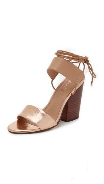 Splendid heel chunky heel rose gold rose sandals gold shoes