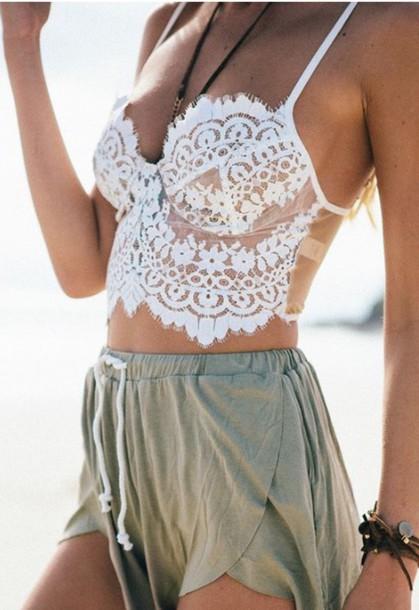 be57e8241957b shirt white lace crop tops crochet summer bralette lace bralette boho white  lace