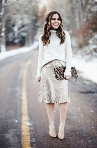 dress corilynn blogger skirt sweater shoes bag jewels shirt silver skirt sequin skirt clutch pumps turtleneck sweater winter outfits