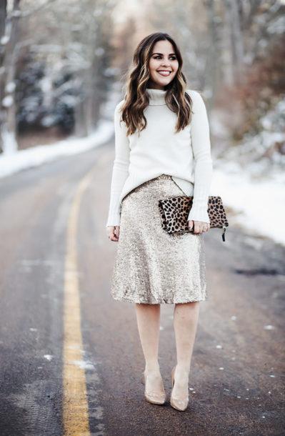 dress corilynn blogger skirt sweater shoes bag jewels shirt silver skirt sequin skirt clutch pumps turtleneck sweater winter outfits