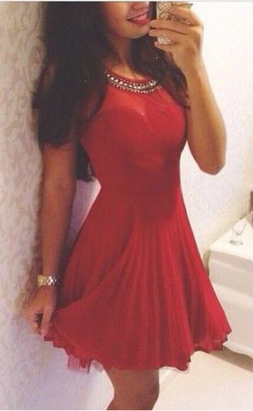 red dress cute dress prom dress chiffon classy
