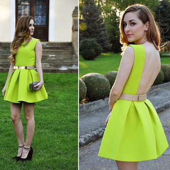 2013 New Fashion Neon Cute Dress,Pleated Sexy Dress Belt Dress,Skater Skirt dress Neon Green Yellow D2002-in Dresses from Apparel & Accessories on Aliexpress.com