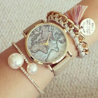 jewels watch map girly leather