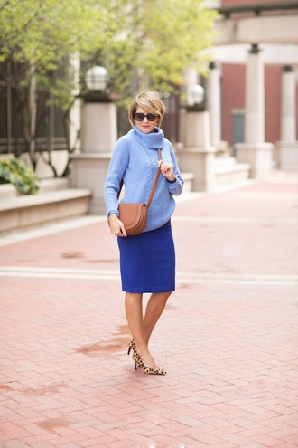 style archives - seersucker and saddles blogger sweater skirt shoes bag jewels blue sweater blue skirt animal print shoulder bag brown bag