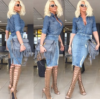 skirt denim jeans ripped jeans denim shirt bag fringed bag blue blue jeans shoes boots brown leather boots high waisted jeans high waisted skirt sunglasses hair all denim jelena karleusa