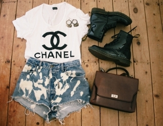 shirt chanel t-shirt acid wash shorts chanel tshirt military boots combat boots summer outfits cool outfits vintage bag earings shoes