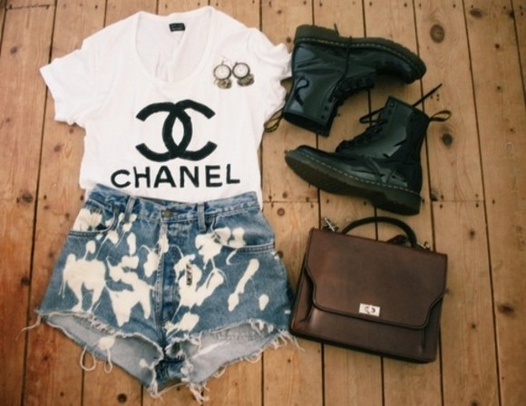 shoes earings shirt chanel t shirt acid wash shorts chanel tshirt military boots combat boots summer outfits cool outfits vintage bag simple cute outfit