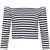 White and Black Off the Shoulder Crop T-shirt - Sheinside.com