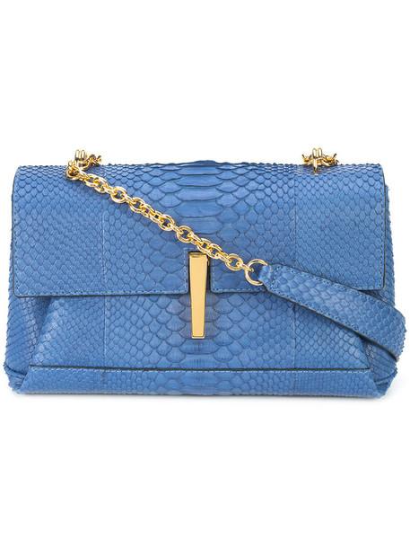 Hayward women python bag shoulder bag blue suede
