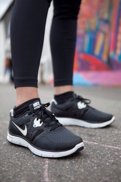 shoes black white sneakers nike running shoes