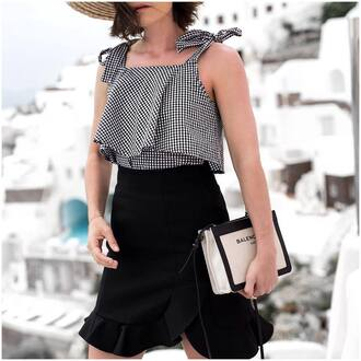 top black skirt tumblr gingham summer outfits skirt mini skirt ruffle wrap ruffle skirt wrap skirt bag