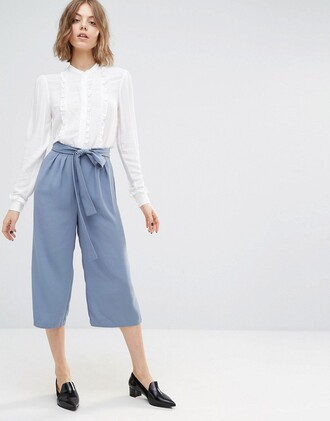 pants culottes baby blue tied waist