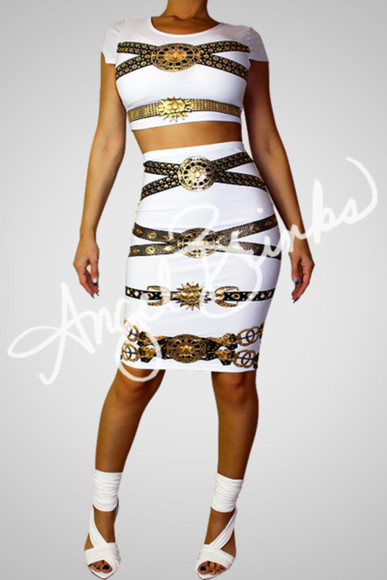 white shoes whole oufit versace inspired dress gold chain print versace print pointed toe heels