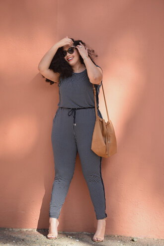 jumpsuit plus size jumpsuit curvy plus size sleeveless bag brown bag bucket bag sandals sandal heels high heel sandals nude sandals sunglasses tortoise shell