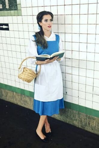 dress halloween outfit black ballerina flats blue dress beauty and the beast basket brunette ponytail belle white apron