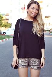 shorts,Sequin shorts,sequins,silver,top,black top,bag,mini bag,chain bag,long hair,blonde hair,metallic shorts