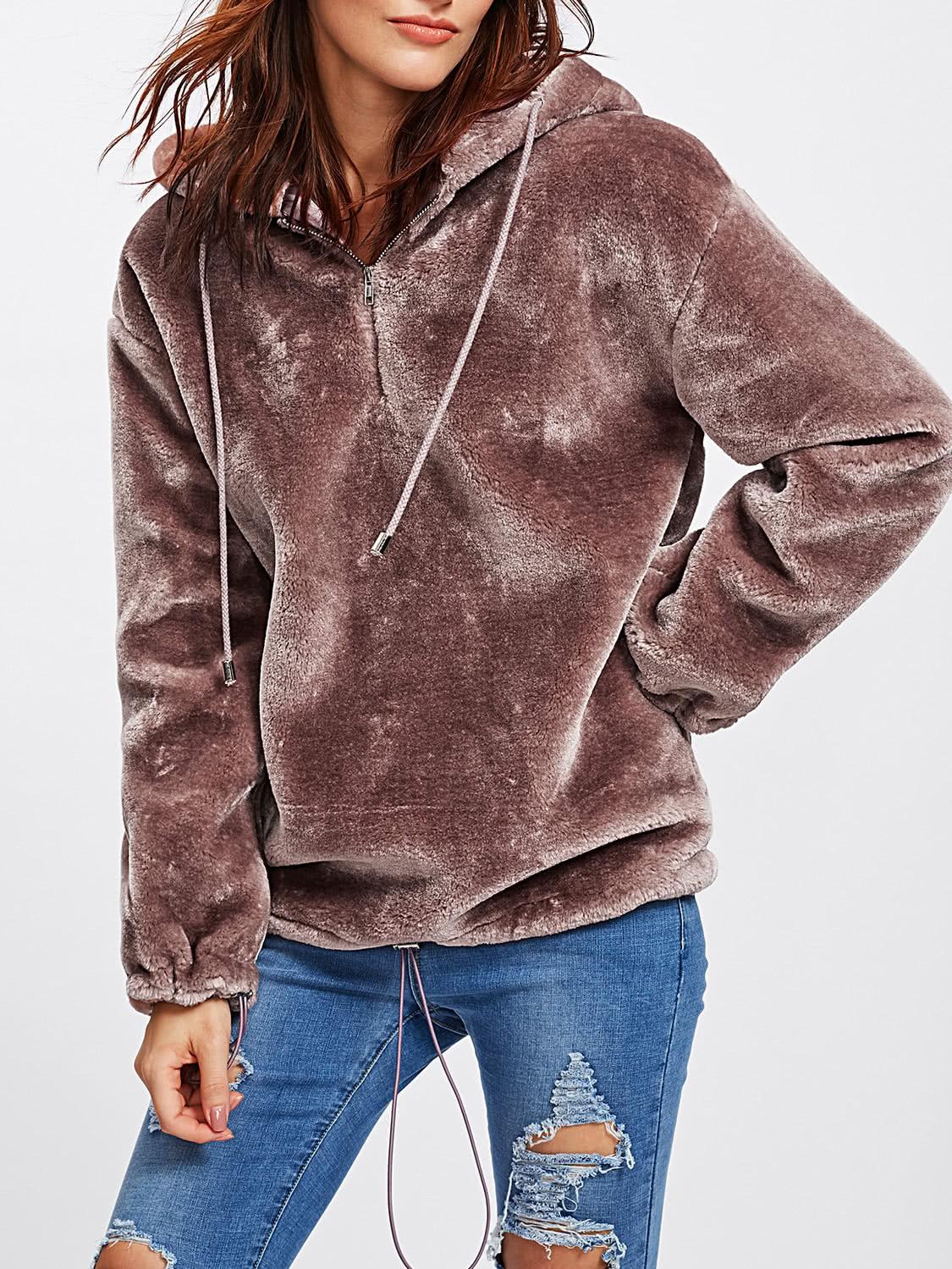 Zip Front Drop Shoulder Faux Fur Hoodie -SheIn(Sheinside)