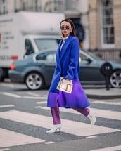 coat,blue coat,pants,white boots,bag,white bag,sunglasses,oversized,purple,boots,oversized coat