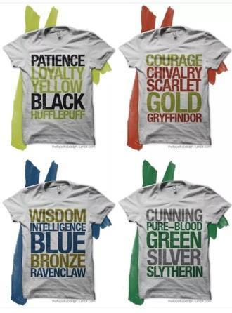 shirt harry potter t-shirt hogwarts griffindor ravenclaw hufflepuff slytherin