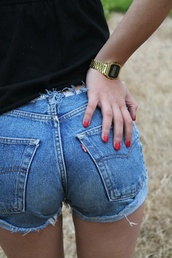 jewels,gold,black,short,jeans,blue,watch,shorts