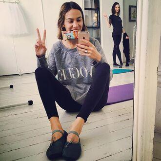shoes alexa chung ballet flats ballet flats black flats bow flats mary jane instagram sweater