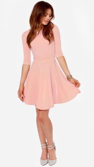 dress peach skater dress casual dress