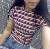 shirt,rainbow,cut-out,t-shirt,heart,high neck