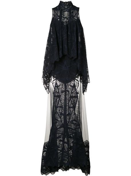 Jonathan Simkhai gown women layered lace cotton blue dress