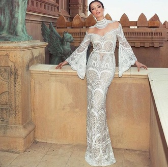 dress grey white beautiful glamgerous see through lace dress white dress white long dress wedding dress evening dress off the shoulder bell sleeves