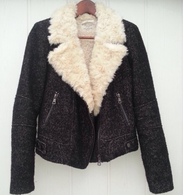 ZARA Blazer Jacket Biker Coat Fur Sheepskin double breasted brown
