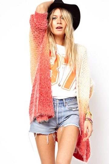 Color Gradient Long Cardigan [FKBJ10159]- US$37.99 - PersunMall.com