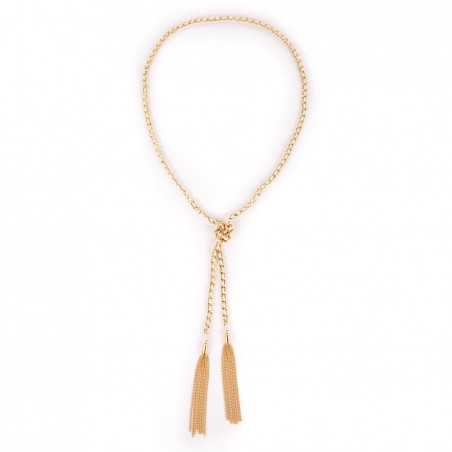 Sole Society - Suede and Chain Tassel Necklace - Cream