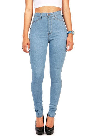Light Denim High Waist Womens Skinny Jeans Rise Vibrant Denim Pants
