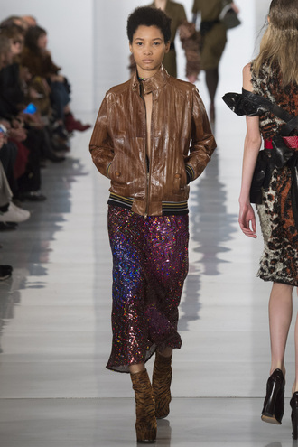 jacket skirt midi skirt fall outfits runway model maison margiela fashion week 2016 paris fashion week 2016 glitter brown