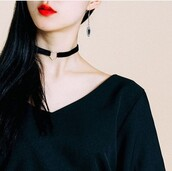 make-up,asia,asian,red,lipstick,choker necklace,heart,love,red lipstick,cute,kfashion,korean fashion,mixmixx,heart choker,necklace