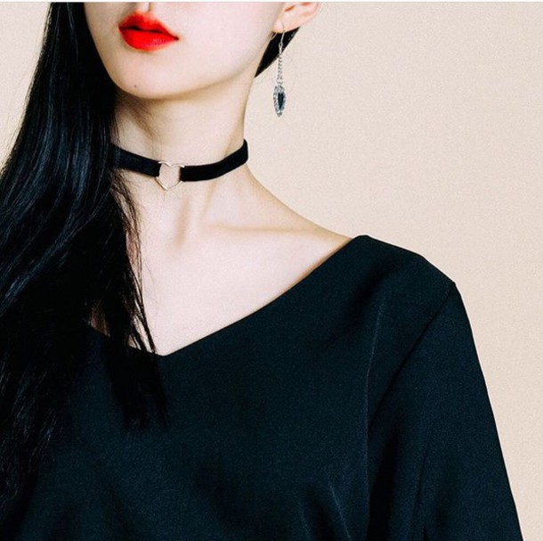 make-up asia asian red lipstick choker necklace heart love red lipstick cute kfashion korean fashion mixmixx heart choker necklace choker necklace