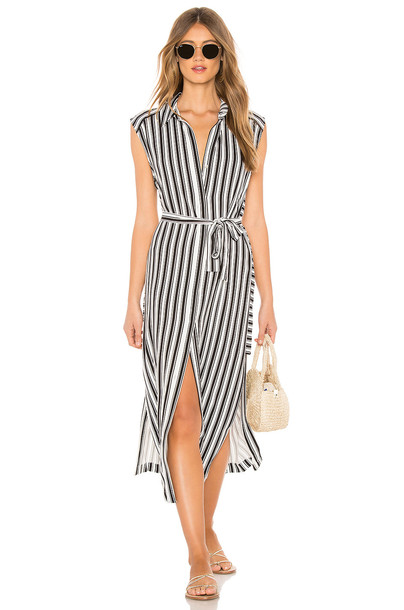 Seafolly Stripe Long Line Cover Up in white