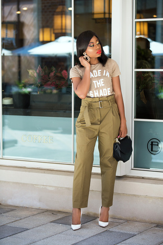 t-shirt high waist pants pumps blogger blogger style slogan t-shirts handbag earrings