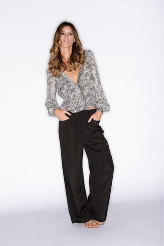top print blouse grey bikiniluxe