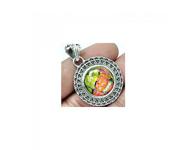 Handmade 925 sterling silver Dichoric Glass Pendant