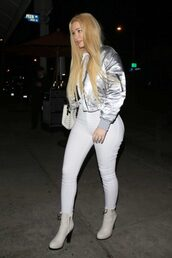 jacket,metallic,jeans,ankle boots,iggy azalea,fall outfits,shoes