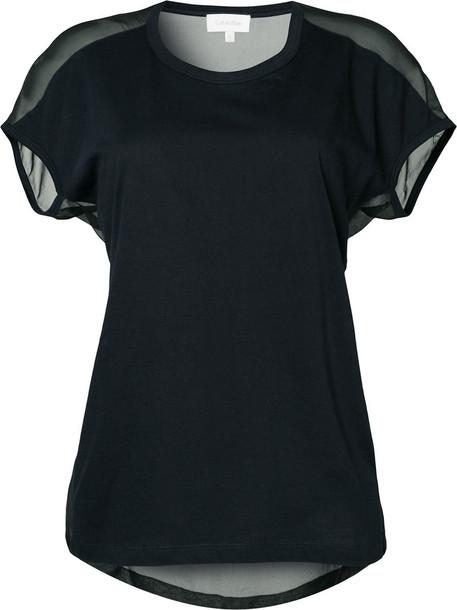 Ck Calvin Klein t-shirt shirt t-shirt women cotton blue silk top