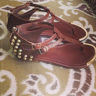 shoes summer spring spikes studs leather sandals spikes and studs leather sandals