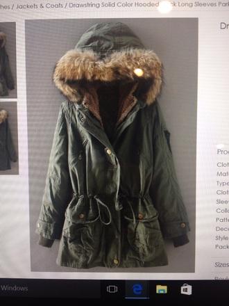 coat parka army green jacket