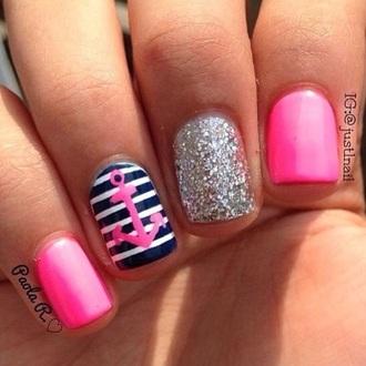 nail polish pink navy white sparkle nails fashion anchor style