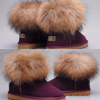shoes ugg boots burgundy australia boots furry uggs fur