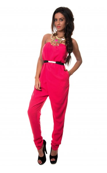 Pink Jump Suits/Rompers - Rose Red Chiffon Strapless Jumpsuit | UsTrendy