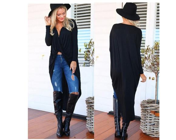 black top fashion black top cardigan twisted long sleeves