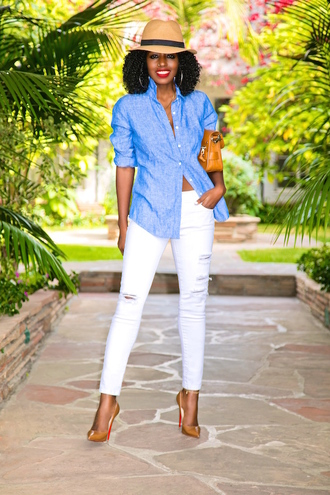 blogger shirt jeans bag shoes blue shirt white pants pumps high heel pumps spring outfits